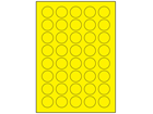 Yellow polyester laser labels, 30mm diameter