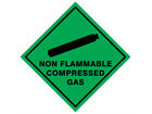 Non flammable compressed gas hazard warning diamond sign