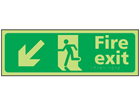 Fire exit arrow down left photoluminescent sign.