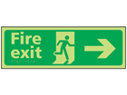 Fire exit arrow right photoluminescent sign.