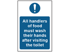 All handlers of food must wash their hands safety sign.