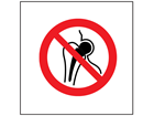 No metal implants symbol safety sign.