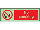 No smoking photoluminescent safety sign