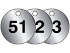 Aluminium valve tags, numbered 51-75