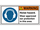 Noise hazard wear approved ear protection label