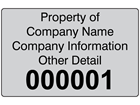 Assetmark serial number label (black text), 32mm x 50mm
