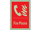 Fire phone symbol and text photoluminescent safety sign