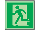 Running man to left symbol photoluminescent safety sign