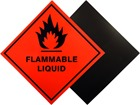 Flammable liquid hazard warning diamond label, magnetic