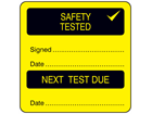 Safety tested, next test due combination label.