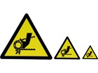 Belt drive warning symbol label.