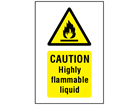 Caution highly flammable liquid symbol and text safety sign.