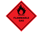 Flammable gas hazard warning diamond sign