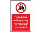 Pedestrian walkway only no vehicular movement symbol and text sign