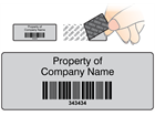 Scanmark tamper evident barcode label (black text), 19mm x 50mm