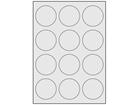 Silver polyester laser labels, 60mm diameter