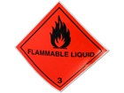 Flammable liquid 3 hazard warning diamond sign