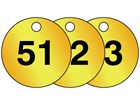 Brass valve tags, numbered 51-75