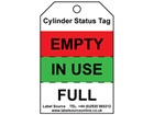 Gas cylinder status tag.