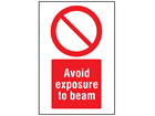 Avoid exposure to beam symbol and text safety sign.