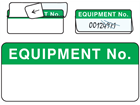 Equipment number write and seal labels.