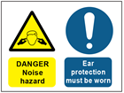Danger noise hazard, ear protection must be worn safety sign.
