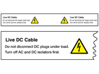 Live DC cable wind turbine hazard label