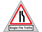 Single file traffic (nearside) road sign