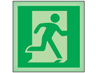 Running man to right symbol photoluminescent safety sign