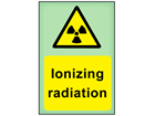 Ionizing radiation photoluminescent safety sign