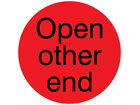 Open other end packaging label
