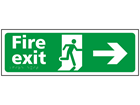 Fire exit, running man, arrow right sign.