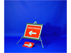 Pedestrians (reversible arrow left and right) roll up road sign
