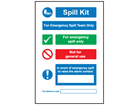 Spill emergency action guide sign.