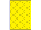 Yellow polyester laser labels, 60mm diameter