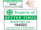 Assetmark destructible serial number label (logo / full design), 32mm x 50mm