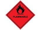 Flammable hazard warning diamond label, magnetic