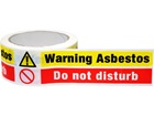 Warning asbestos, do not disturb safety tape.