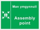 Man yn gunnull / Assembly point. Welsh English sign.
