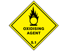 Oxidising agent 5.1 hazard warning diamond sign