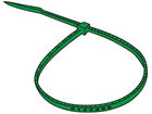 Serial numbered nylon cable ties, green