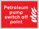 Petroleum pump switch off point symbol and text sign