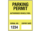 Parking permit label, yellow background, serial number