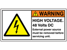 High voltage 48 Volts DC label