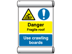 Site safety notice - Danger fragile roof, Use crawling boards scaffold banner