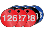 Coloured aluminium valve tags, numbered 126-150