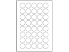 Paper laser and inkjet labels, 30mm diameter.