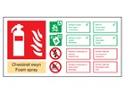 Chwistrell ewyn / Foam spray extinguisher safety sign.