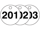 Plastic valve tags, numbered 201-225