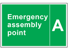 Emergency assembly point text safety sign with identifier.
